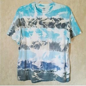 Blue gray bleached and tie dyed t shirt size XL